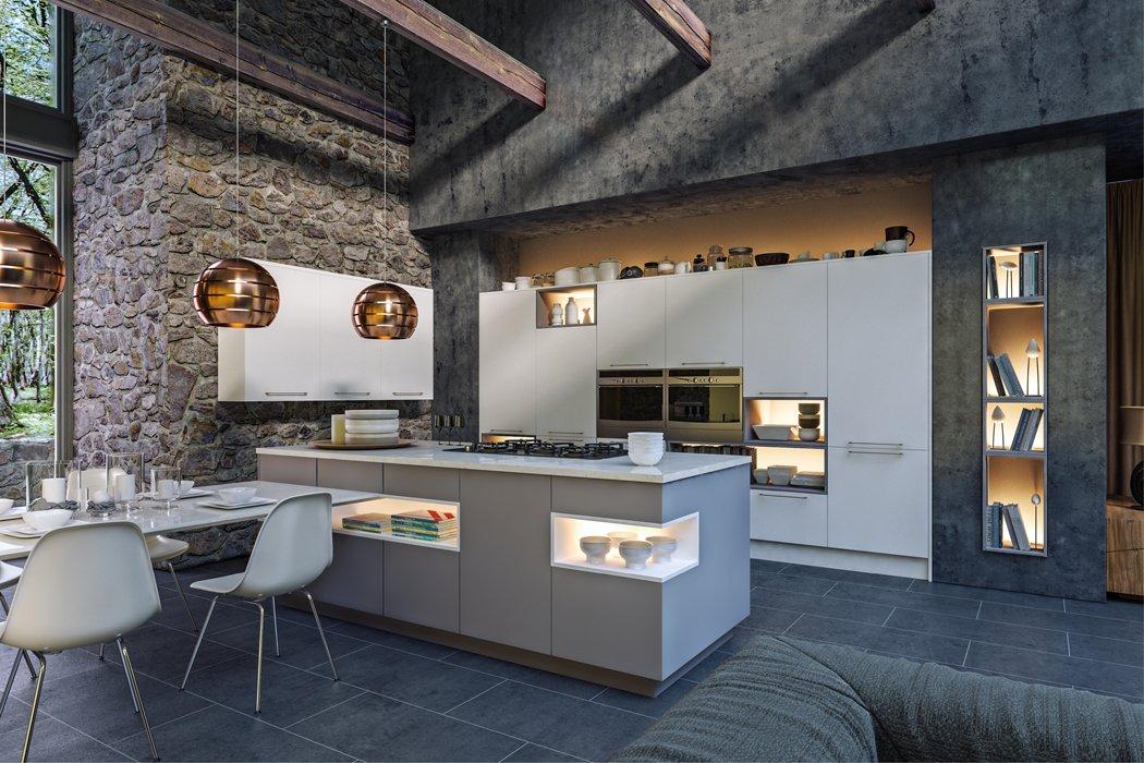 Zurfiz Supermatt White Supermatt Dust Grey Kitchen
