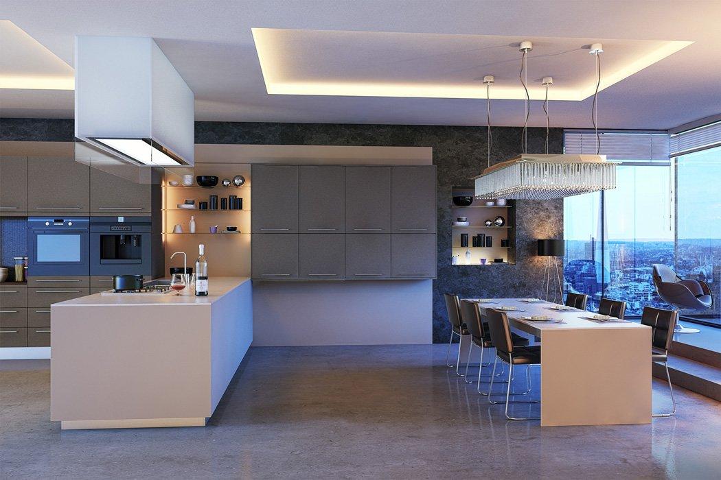 Zurfiz Supermatt Metallic Basalt Metallic Cashmere Kitchen