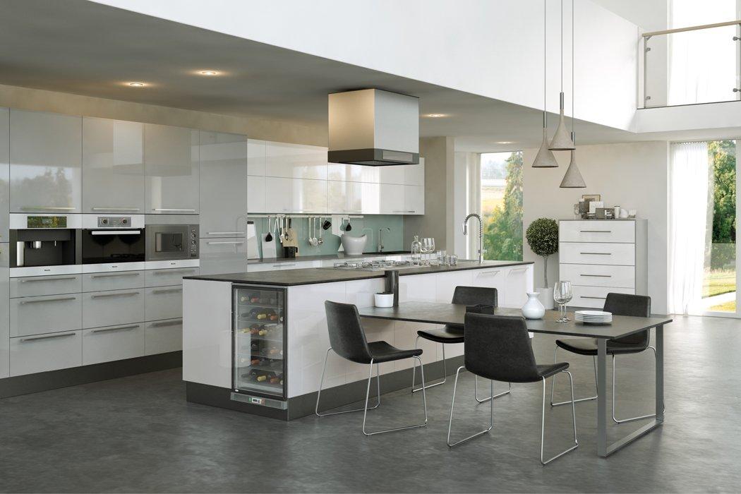 Pronto Firbeck Supergloss Light Grey Kitchen